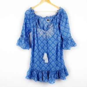 ⛄Mudpie Small Blue V Neck Tunic Bell Sleeve